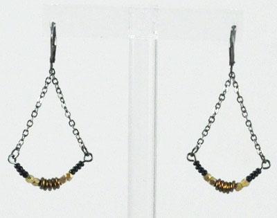Beach Glass Chandelier Earrings - Copper Gold