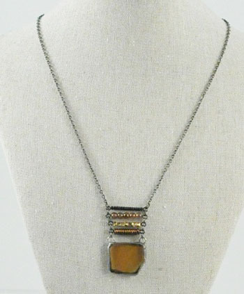 Recycled bottle glass necklace with stacked beads – Amber Antique