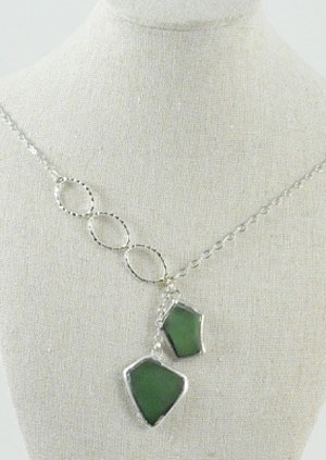 Beach Glass Necklace - Light Green
