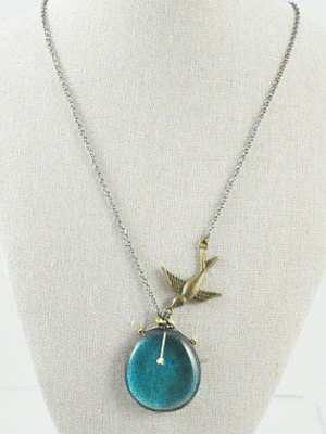 Turquoise Stained Glass Nugget Necklace with Swallow