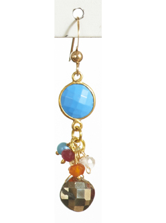 Bezel and Gem Earrings with Turquoise