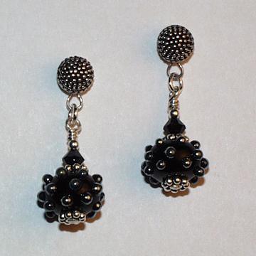 Black and Shiny Bump Glass Flamework Earrings