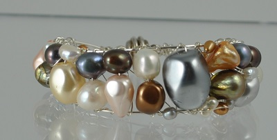 Multi Pearl Cuff with Magnetic Clasp