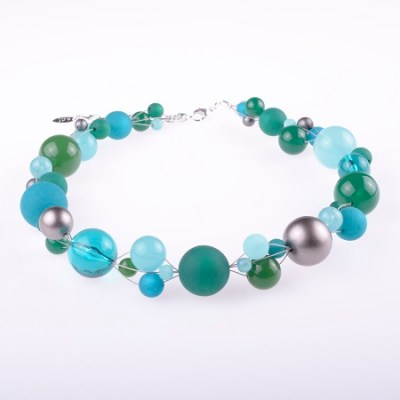 Multiple Size Beaded Necklace - Blues, Greens, Golds