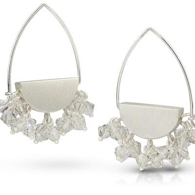 Silver Half Moon Hoops - Clear Dangle Crystals