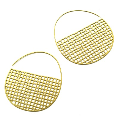 20K Gold Plated Tiny Basket Weave Hoops