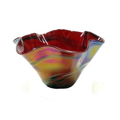Mini Floppy Glass Bowl - Red Rainbow