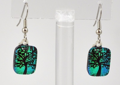Curly Q Tree of Life Dichroic Earrings