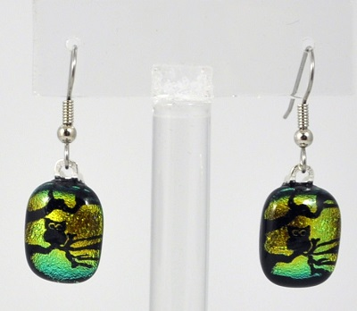 Owl in a Tree Earrings - Dichroic Glass