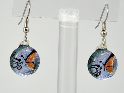 Round Butterfly Dichroic Glass Earrings - Salmon
