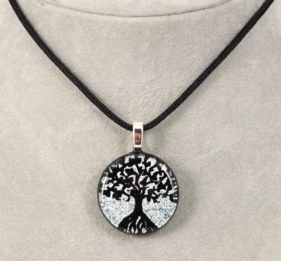 Round Tree of Life Dichroic Glass Pendants