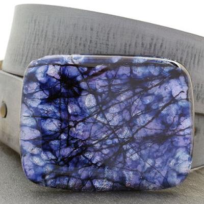 Sapphire Rectangle Glass Belt Buckle