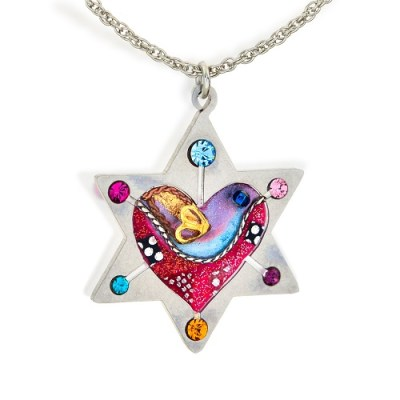 Sparkling Star Of David With Heart And Dove Judaic Necklace - Seeka