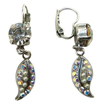Crystal and Pearl Leaf Earring