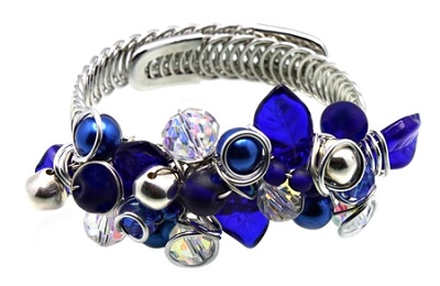 Blue Crystals Silver Wire Memory Bracelet