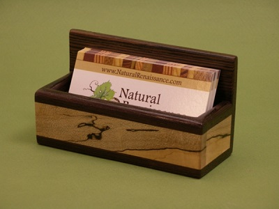 Mahogany and Hard Maple Business Card Holder