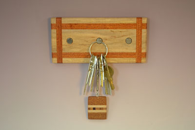 Hard Maple-Mahogany Ribbon Key Rack with 3 Magnets