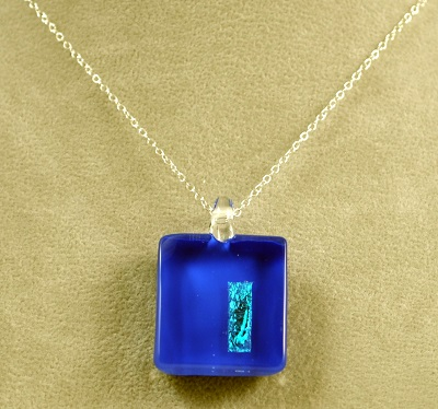 Medium Rectangle Reflection Pendant - Dark Blue
