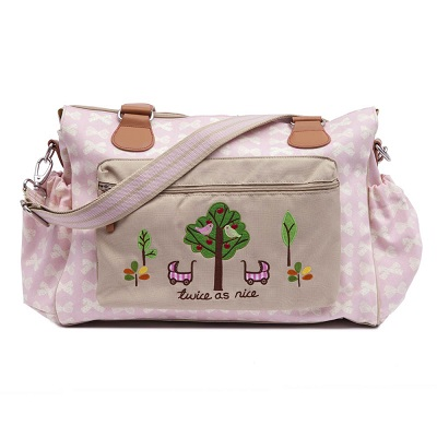 Twins Diaper Bag - Cream Bows