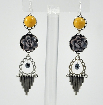 Grey-Yellow Vintage Chandelier Earring