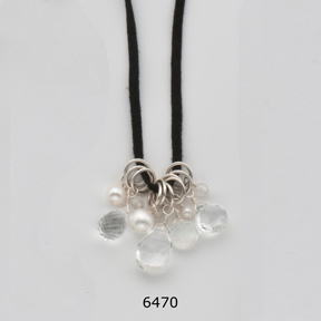 Pearl White Stone Cluster Necklace