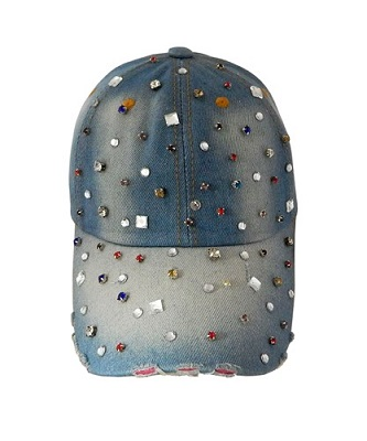 Multi-Colored Stone Denim Bella Gemma Cap