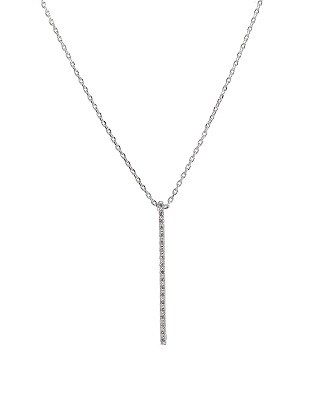 Linear Bar Short Necklace with Pave CZ - 3 finishes