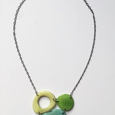 3 Piece Tagua Nut Cluster Necklace - Assorted Color Combinations