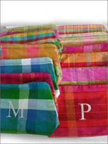 Initialed Silk Plaid Cosmetic Bag