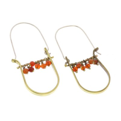 Brass Drop Earrings-Carnelian