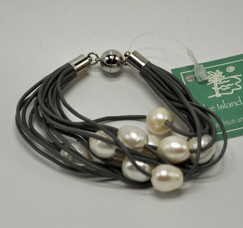 Black Leather Bracelet with Freshwater Pearls