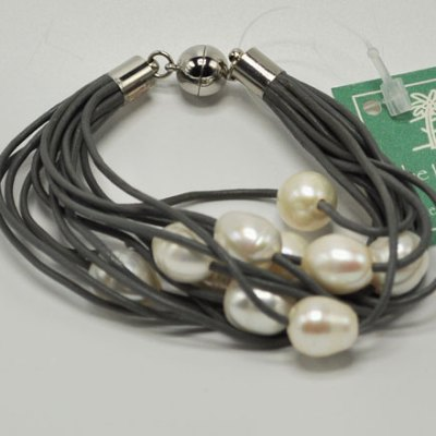 Grey Leather Bracelet with Freshwater Pearls