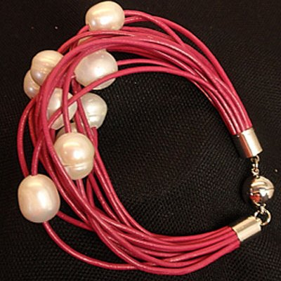 Pink Raspberry Leather Bracelet with White Freshwater Pearls