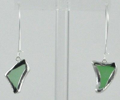 Light Green Silver Beach Glass Earrings