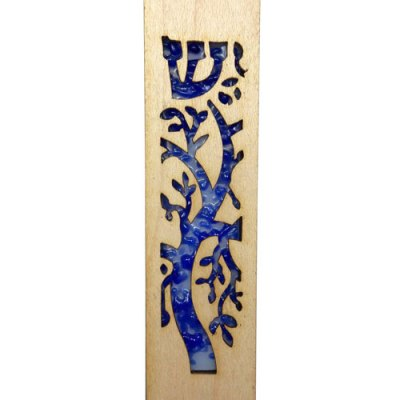 Mezuzah Laser Blue Tree of Life