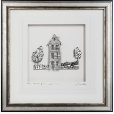 Pewter Wall Art - Cottage with Pine Trees