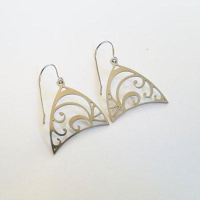Floral Triangle Chandelier Earrings - Stainless Steel