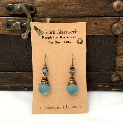 Frosted Drop Earring - Turquoise