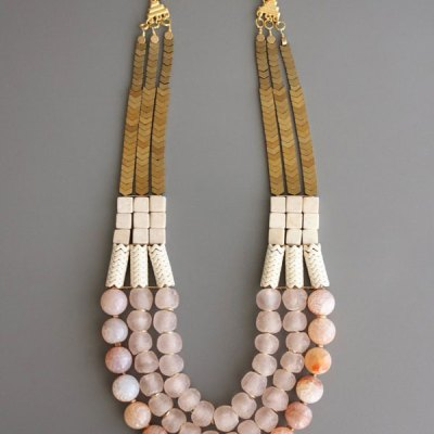 "21"" Triple Strand Stone Necklace"