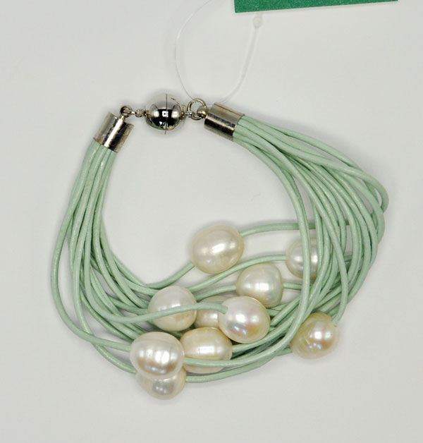 Aqua Leather Freshwater Pearl Bracelet