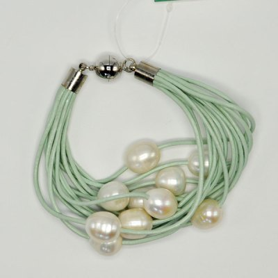 Aqua Leather Freshwater Pearl Bracelet