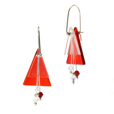 Double Triangle Fused Glass Earring - Bright Red