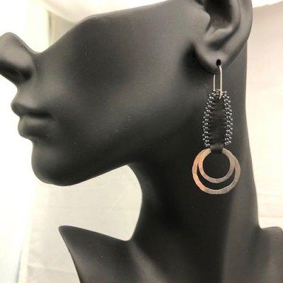 Double Hoop Leather Seed Bead Earring