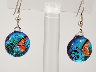 Round Butterfly Dichroic Glass Earring - Blue