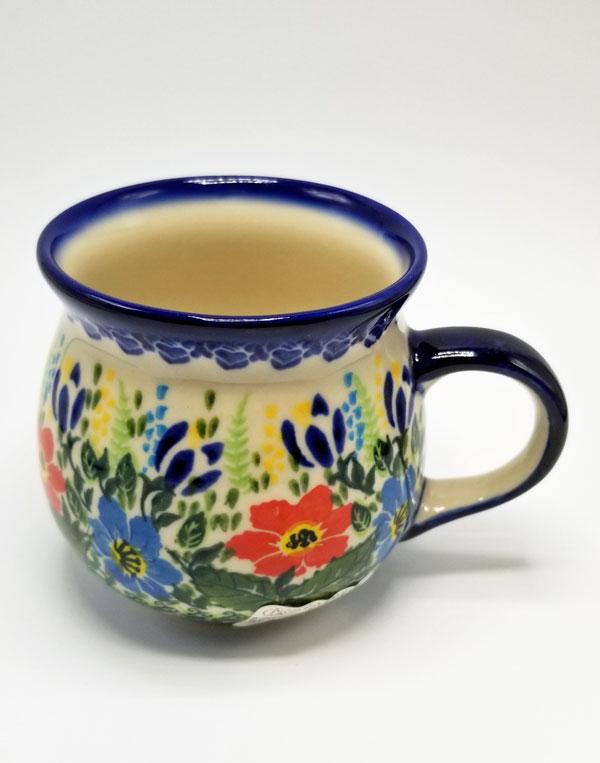 Polish Pottery Bubble Mug - Red Blue Poppies