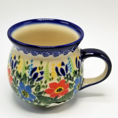 Polish Pottery Bubble Mug - Red Blue Poppies