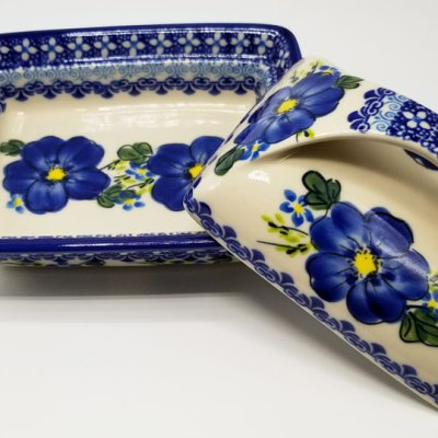 Polish Pottery Butter Dish - Blue Poppy