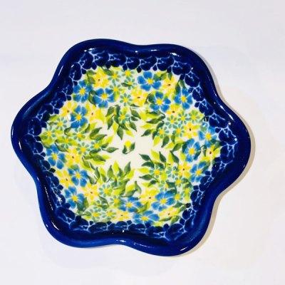 Polish Pottery Scalloped Dish - Blue Daisy