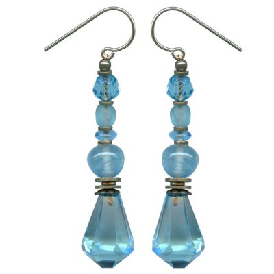 Aquamarine Czech Glass Earring