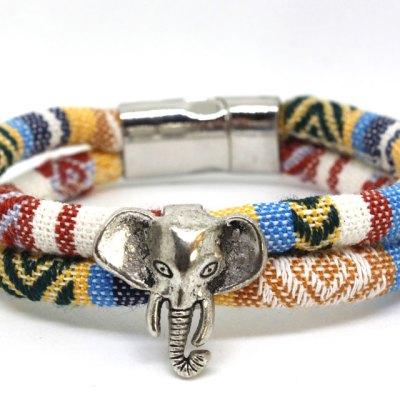 Elephant Double Tribal Cord Bracelet